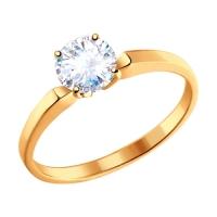 Узкое помолвочное кольцо из золота с фианитом